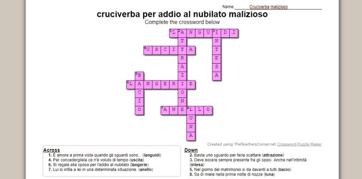 Cruciverba per addio al nubilato un crossword divertente for Cruciverba da stampare con soluzioni